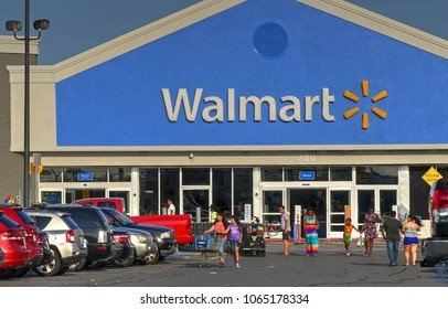 HDR image, Walmart busy storefront, shopping customers come and go - Lynn, Massachusetts USA - August 20, 2017
