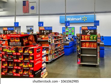 HDR image, Walmart store cashier check out lane, impulse item displays - Saugus, Massachusetts USA - April 2, 2018