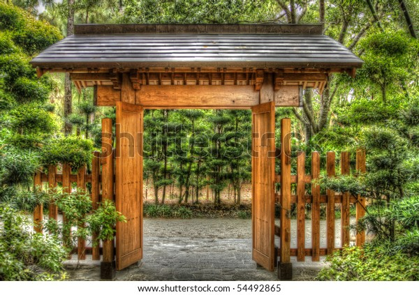 Hdr Japanese Style Wooden Gate Gardens Stock Photo Edit Now