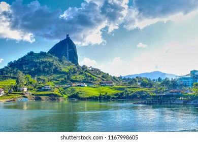 HDR landscape, view rock of Guatape and lake, Medellin, Colombia -  January 2018