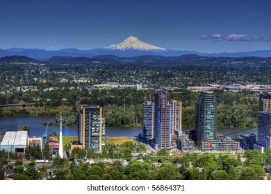 HDR of Mount Hood with Portland in the forground, shot taken from OHSU