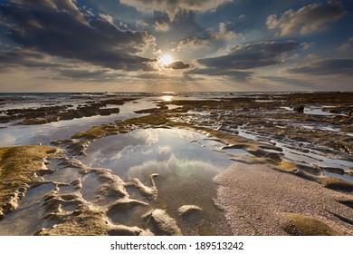 HDR Orange sunset on the beach