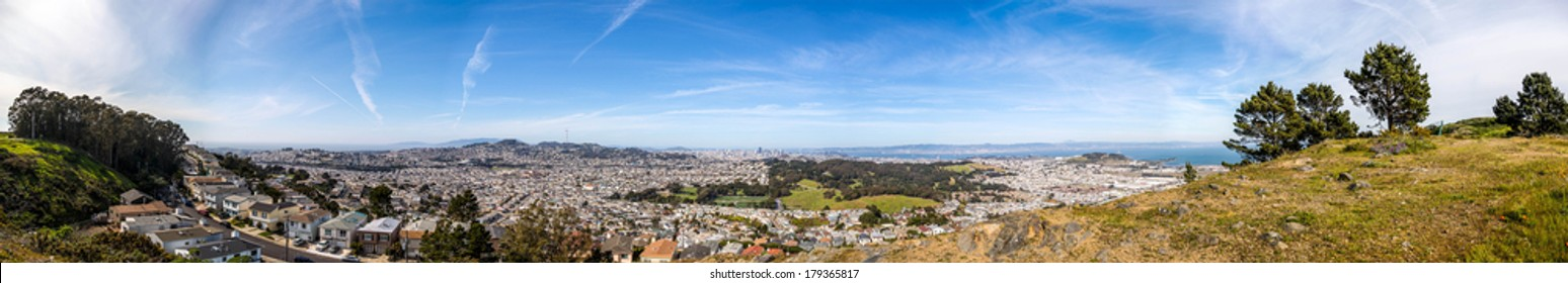 HDR panorama of the San Francisco Peninsula from south, viewed from the San Bruno Mountain State Park top, Daly City, California