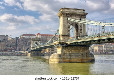 HDR photo of chain bridge over Danube, Budapest, Hungary