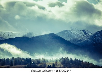 HDR photos of the Tatra Mountains and Zakopane in Poland, National Park, pictures taken in cloudy day.