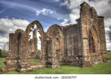 HDR shot of the South West side of Lincluden Collegiate Church (also know as Priory or Abbey) in Dumfries. Sunrays give impression of holyness or divinity.