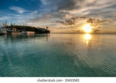 HDR Sunset in Ten Bay, Eleuthera, Bahamas.