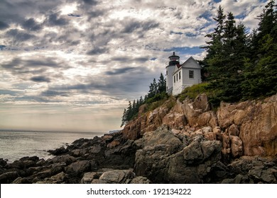 An HDR tone mapped image of the Bass Harbor Head Lighthouse in Acadia National Park, Maine