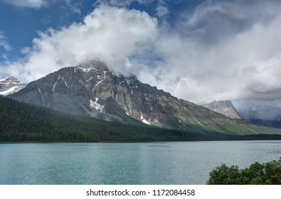 HDR view of Mount Chephren and Waterfowl Lake seen from the Icefields Parkway