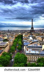 HDR view on Paris from Arc de Triomphe, Eiffel tower on background