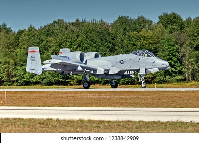 HDR Warbird Air Force A10 Warthog airport runway, Manchester New Hampshire USA airshow, September 24, 2015