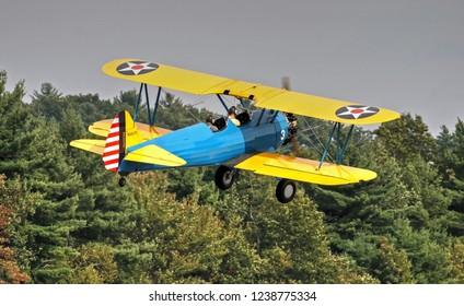 HDR Warbird PT-17 Stearman propeller biplane, Manchester New Hampshire USA airshow, September 24, 2005