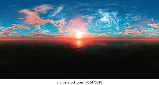 HDRI, environment map, Round panorama, spherical panorama, equidistant projection, sea sunset 3d rendering