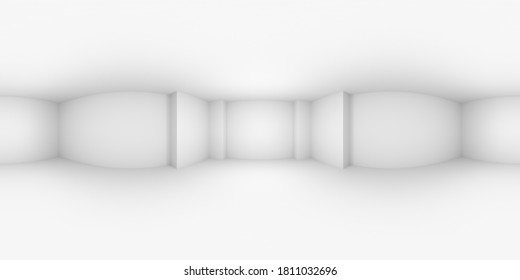 HDRI environment map of white abstract empty room with white wall, floor, ceiling, with niche without textures, white colorless 360 degrees spherical panorama background, 3d illustration.