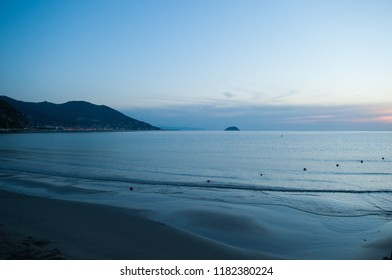 he beach at dawn in Liguria at Laigueglia