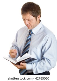 he businessman with a notebook on the white background