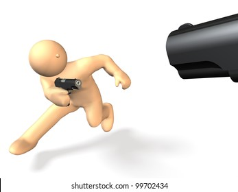 He is fighting  with a gun. This is a computer generated image,on white background.