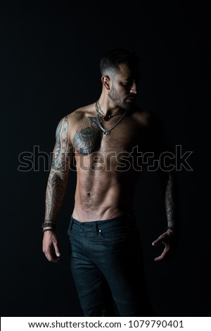 Tattoo guy dancing sexy