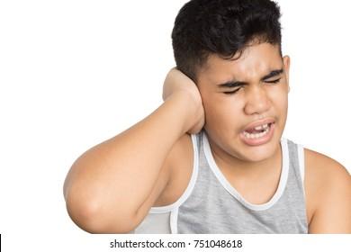 He has earache isolated on white