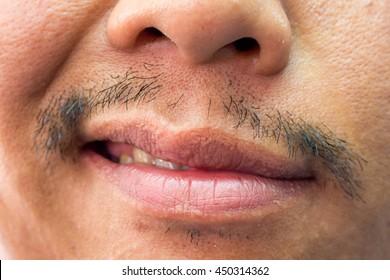 He has a mustache