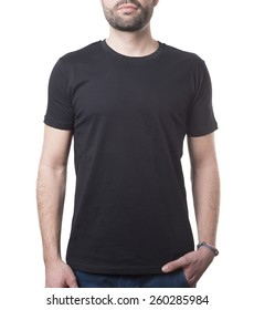 ad829bd9 he likes wearing his black shirt isolated on white with clipping path for  background and garment