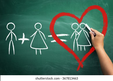 he  plus she equals love, alone stickman plus alone stickwoman  equals love, concept valentine�¢??s day