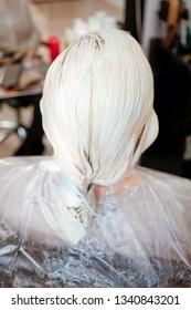 he process of hair coloring,hair coloring,Hair Colouring in process,Woman gets new hair colour,Hair Colouring in proces