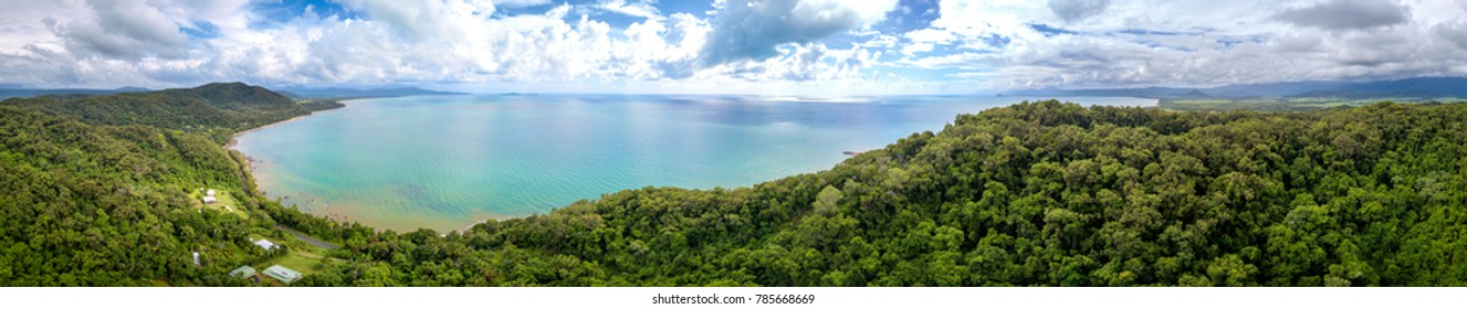 he tropical forest in Daintree and the coral sea viewed from the Sky. The Daintree forest is located in Far North Queensland Australia.