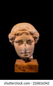 Head of the Ancient Greek Statue Isolated on a Black Background