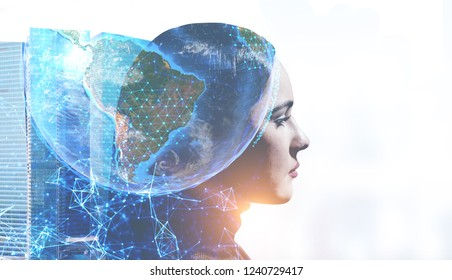 Head of beautiful woman with double exposure of Earth, network hologram and skyscrapers. Toned image mock up Elements of this image furnished by NASA