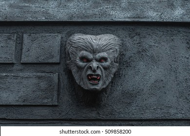 A head of Bram Stoker's vampire Dracula in Whitby, England