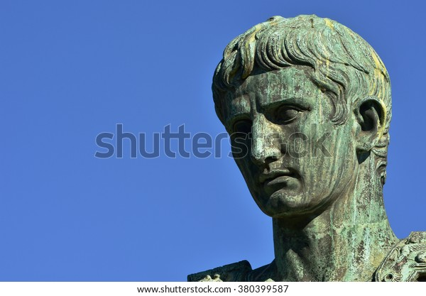 Head from the bronze statue of emperor Augustus along Via dei Fori Imperiali boulevard, Rome