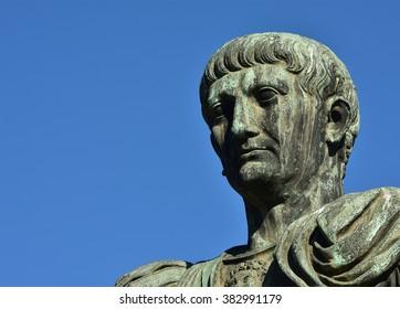 Head from the bronze statue of emperor Trajan along Via dei Fori Imperiali boulevard, Rome