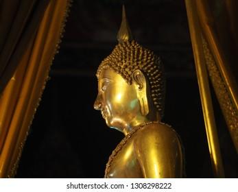 Head of Buddha, Phra Phuttha Sihing in Phra Thinang Phutthaisawan, Bangkok National Museum Bangkok, Thailand January 1, 2019