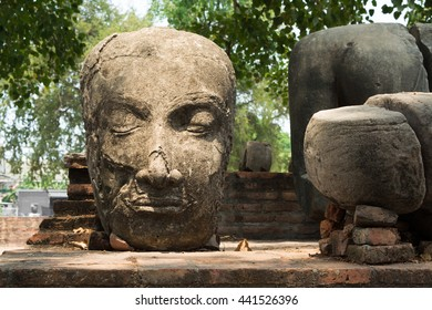 Head of Buddha statue at Wat Mahathat temple, historic site in Ayuttaya province,Thailand.