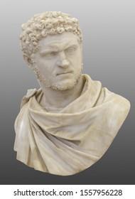 Head of Caracalla. (Marcus Aurelius Severus Antoninus Augustus) known as Antoninus. Roman emperor. Isolated with clipping path