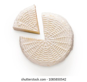 Head of cheese isolated on white background. Homemade diary, cutout