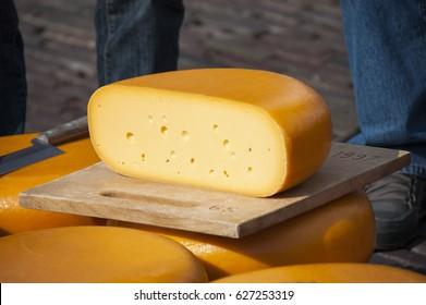 Head of cheese. Cheese market in Alkmaar. Netherlands
