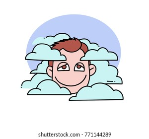 Head in clouds cartoon hand drawn image. Original colorful artwork, comic childish style drawing.
