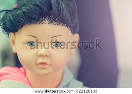 Head Doll Mannequin Black Hair Blue Stock Photo Edit Now 622120133