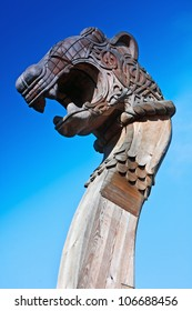 head of a dragon on the front of the Viking ship