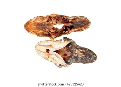 head dried fish on white background