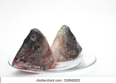head of fish on white Background as jewish new year symbol ( Rosh Hashanah )