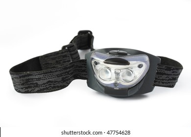 head flashlight with ribbon on a white