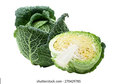Head of fresh ripe Savoy cabbage and half cut isolated
