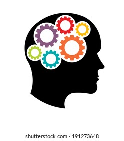 Head gears. Abstraction of thinking mind. This icon serves as idea of teamwork mind, working think, memory training, brain system, psychology, knowledge