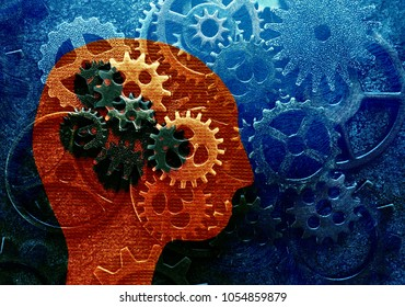 Head and gears over assorted metal gears grunge background