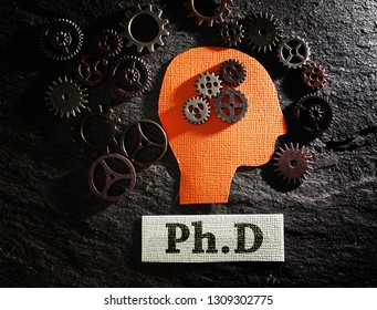 Head and gears with Ph.D ( doctorate of philosophy )message