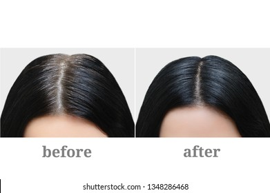 Head of a girl with black gray hair. Hair coloring. Before and after.