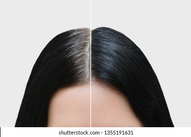 Head of a girl with black gray hair. Hair coloring. Before and after. Close-up.